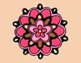 Coloring page Mandala with a flower painted byAnia
