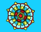 Coloring page Mandala with sun rays painted byAnia
