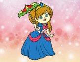 Coloring page Princess with sunshade painted byalexadra