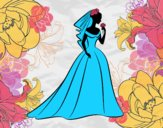 Coloring page Wedding dress and veil  painted bysamg
