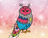 Coloring page Winter Barn owl painted bysamg