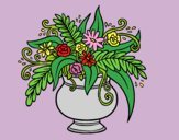 Coloring page A vase with flowers painted byAnia
