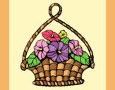 Coloring page Basket of flowers painted byAnia