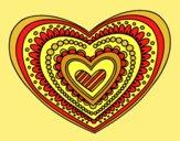 Coloring page Heart mandala painted byAnia