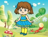 Coloring page Little girl with modern dress painted byAnia