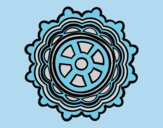 Coloring page Mandala shaped rudder painted byAnia