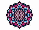 Coloring page Mandala simple symmetry  painted byTonja