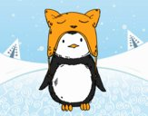 Coloring page Penguin with funny cap painted bysamg