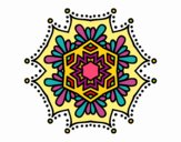 Coloring page Symmetrical flower mandala painted byPame