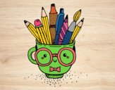 Coloring page Animated cup with pencils painted bysamg