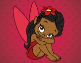 Coloring page Fairy sitting painted byBelzabell