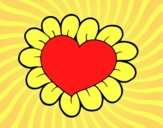 Coloring page Flower heart painted byAnia