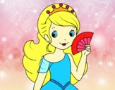 Coloring page Princess and Hand fan painted byalexadra