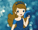 Coloring page Princess and Hand fan painted bysamg