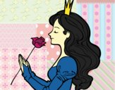 Coloring page Princess and rose painted byalexadra