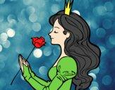 Coloring page Princess and rose painted bysamg