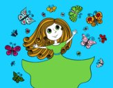 Coloring page Princess of butterflies painted bysamg
