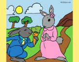 Coloring page Rabbits painted byAnia