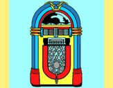 Coloring page 1950s jukebox painted byAnia