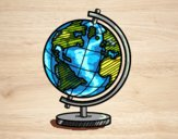 Coloring page A terrestrial globe painted byFranka
