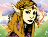 Coloring page Princess elf painted byBelzabell