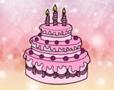 Coloring page Birthday fruit tart painted byAnia