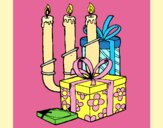 Coloring page Candelabra and presents painted byAnia
