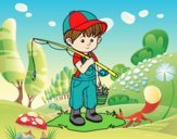 Coloring page fisherman child painted byAnia