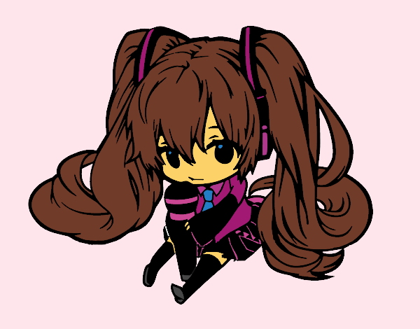 Coloring page Miku Chibi vocaloid painted byKhaos006