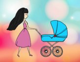 Coloring page Mom with stroller painted byAnia