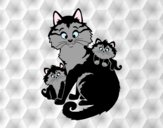 Coloring page Mother cat and kittens painted byAnia