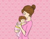 Coloring page Mother taking the baby painted byAnia
