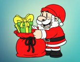 Coloring page Santa Claus giving presents painted byAnia