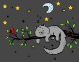 Coloring page The cat and the moon painted byAnia