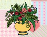 Coloring page A vase with flowers painted byMaHinkle