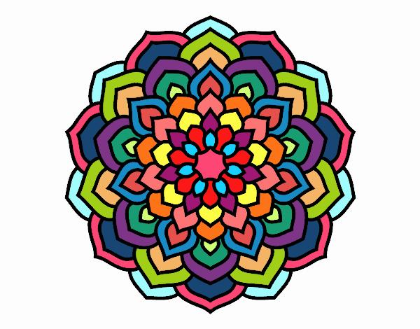 Coloring page Mandala flower petals painted byFABBI