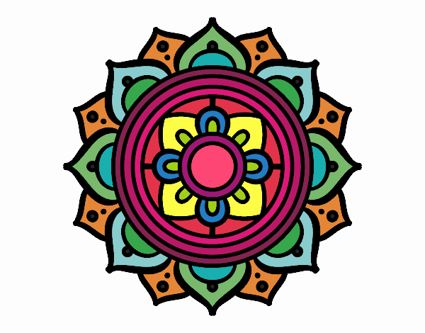 Coloring page Mandala greek mosaic painted byFABBI