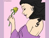 Coloring page Princess with a rose painted byAnia
