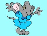 Coloring page Rat wearing dress painted byAnia