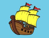 Coloring page Sailing ship painted byAnia