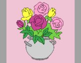 Coloring page Vase of flowers painted byAnia