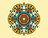 Coloring page Mandala distant world painted byAnia