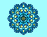 Coloring page Mandala flower and sheets painted byAnia