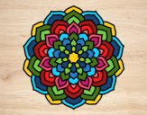 Coloring page Mandala flower petals painted byPatrick