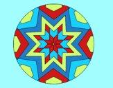 Coloring page Mandala star mosaic painted byAnia