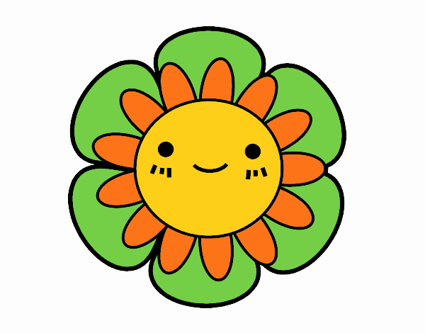Coloring page Childish flower painted byKhaos006