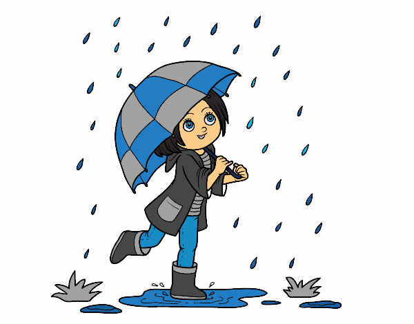 Coloring page Girl with umbrella in the rain painted byKhaos006