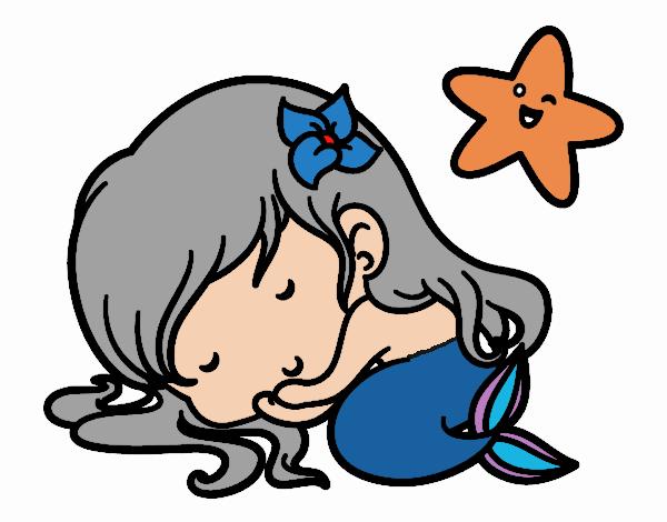 Coloring page Little mermaid chibi sleeping painted byKhaos006