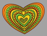 Coloring page Heart mandala painted byAnia