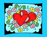 Coloring page Hearts and flowers painted byAnia
